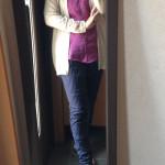 冷えとりファッション春 ストライプのサルエルパンツでハンサムコーデ