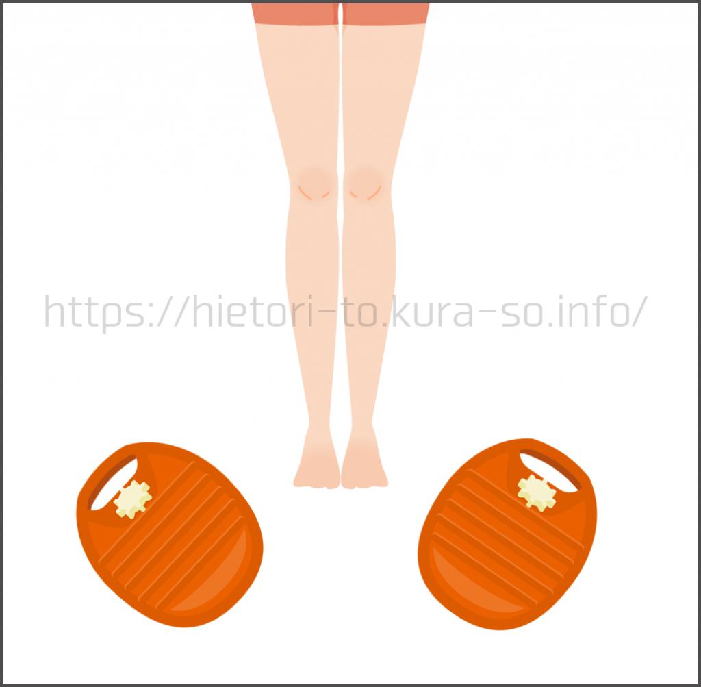 冷えとり健康法で推奨されている就寝時の湯たんぽの使い方として、足の周りにいくつか湯たんぽを置く、です。